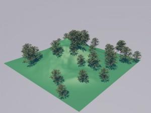建築用途例: 一つの樹木を地形にランダムに配列、サイズもランダムに